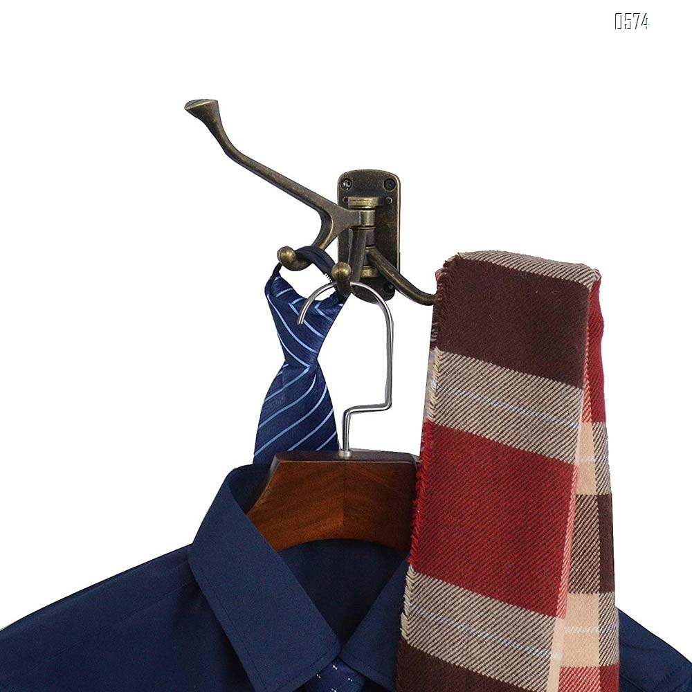 Rustic Coat Hook Zinc Alloy Wall Mounted Multifunctional Foldable Decoration Robe Hook Swivel Hook Antique Bronze