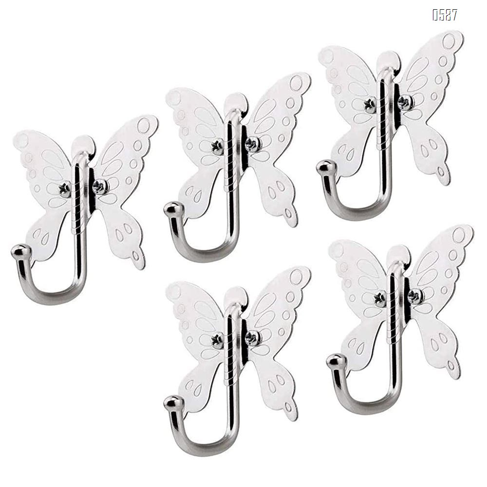 Butterfly Wall Hooks Clothes Rack Coat Towel Hangers Mounted onto The Wall Metal Silver
