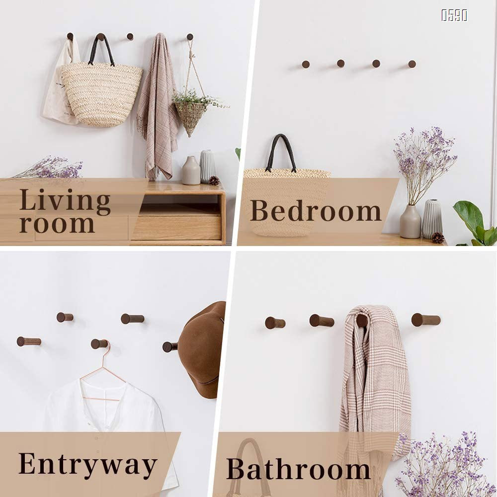 Wood Wall Hooks Coat Hooks Wall Mounted  Rustic Wooden Hooks Heavy Duty Robe Hook Hat Rack | Hooks for Hanging Bathroom Towels Clothes Hanger