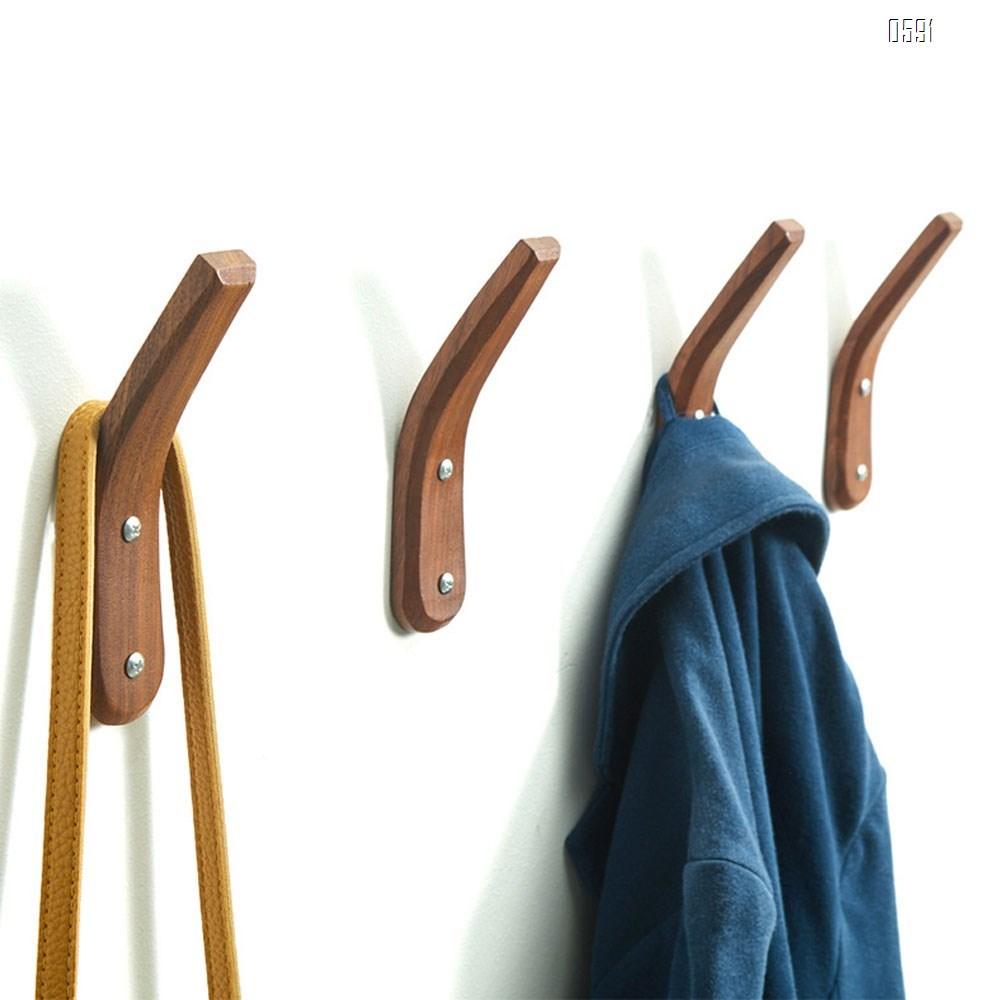 Wooden Coat Hook Wall Mounted Vintage Single Hook Hat Rack Towel Hanger Wall Organizer Simple Handcraft Decorative Wood Wall Hooks Heavy Duty