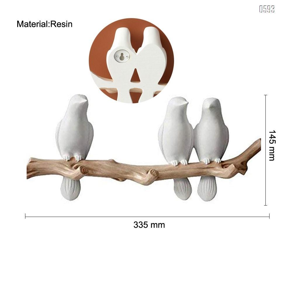 Decorative Birds On Tree Branch Wall Mounted Coat Hanger for Coats/Hats/Keys/Towels(Three Birds)