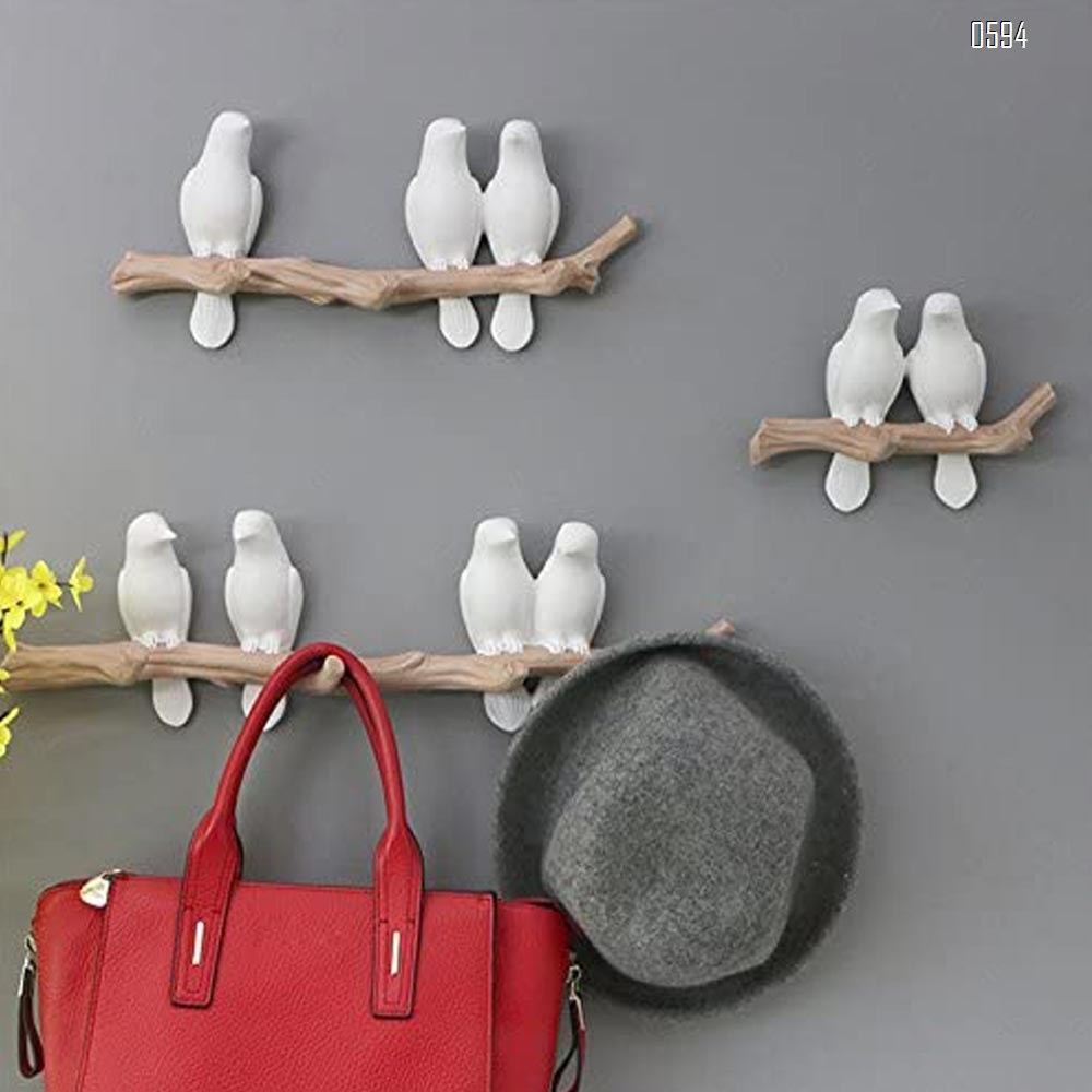 Decorative Birds On Tree Branch Wall Mounted Coat Hanger for Coats/Hats/Keys/Towels(Two Birds)