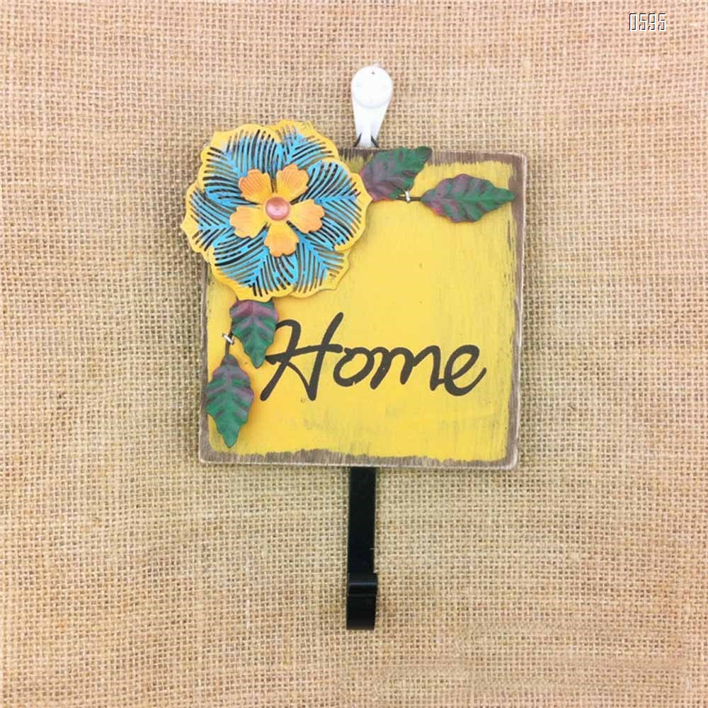 Wood and Metal Iron Tropical Flowers Wall Coat/Key Hooks