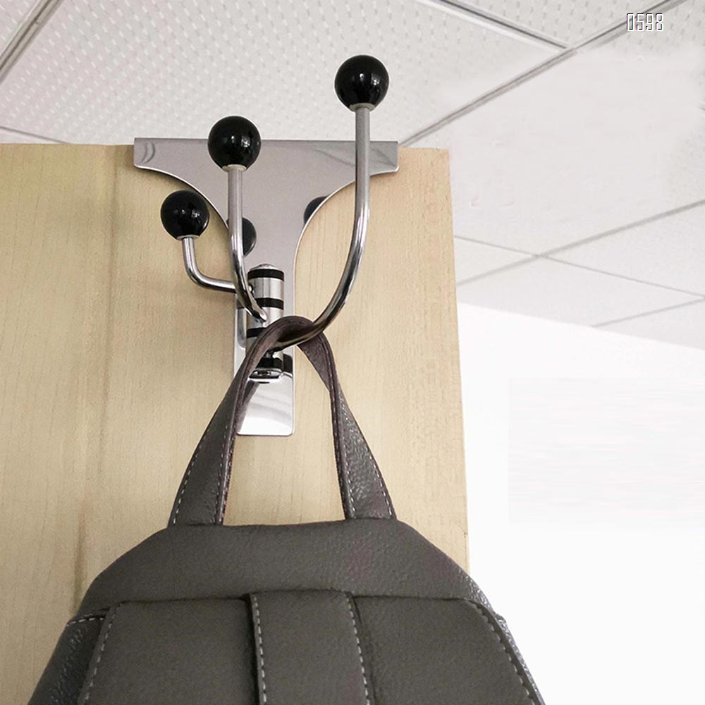 Stainless Steel Hardware Pearly Grey Over The Door 3 Prong Closet Coat Sweater Hat Tie Clothes Towel Swivel Hook Hanger