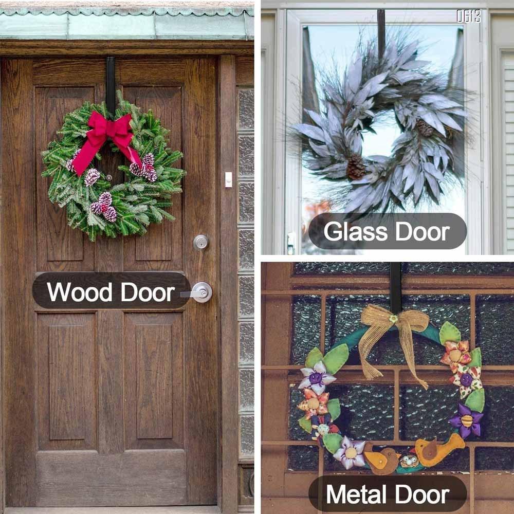 Adjustable Wreath Hanger from 15 Inch-24 Inch, Metal Wreath Hook for Front Door