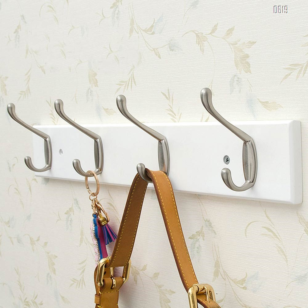 Bamboo 19 inch Hook Rail / Rack, with 4 Heavy Duty Coat and Hat Hooks, in White Zinc Alloy