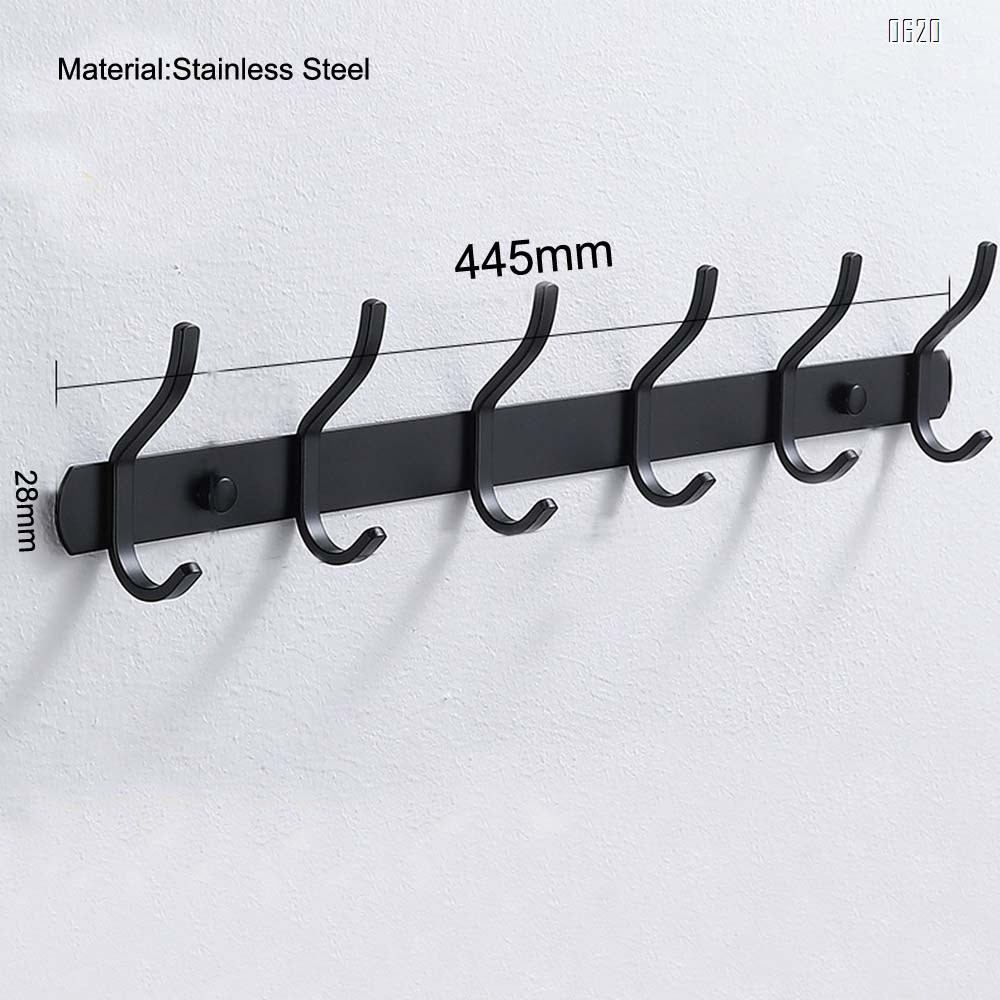 Coat Rack Wall Mounted,6 Hooks Coat Hooks for Hanging Coats,Heavy Duty Metal Hook Rack Rail with 6 Double Dual Hooks Coat Hanger Wall Mount