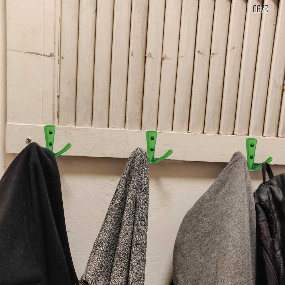 Double Coat Hooks in Green Finish, Easy to Install, Stronger  More Durable for Heavy Items, Wall Mount Hook for Hanging Towels, Coats, Hats, Heavy Bags