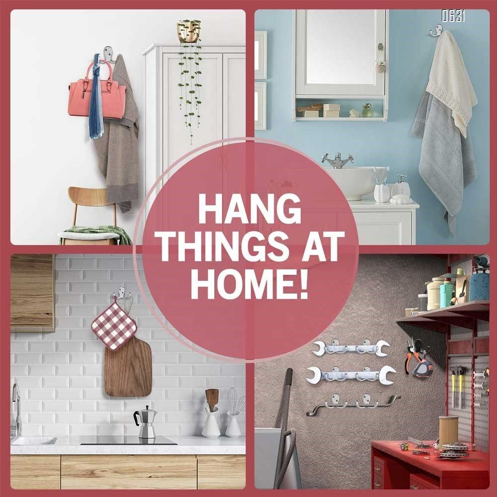 Heavy Duty and Easy to Install Two-Prong Wall Hooks for Towels, Coats, Hats, Bags and Robes Ideal for Use at Home, Kitchen, Bathroom and Office