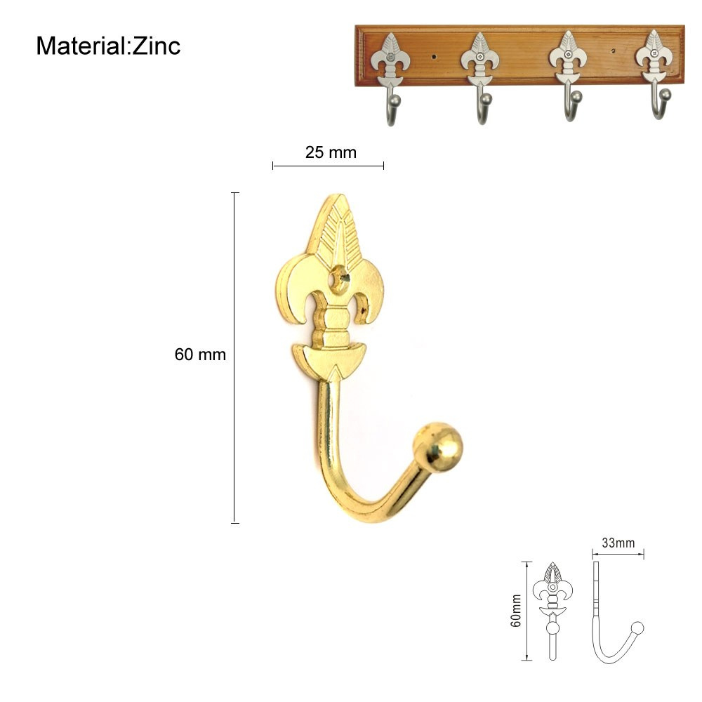 Decorative Wall Hanging Zinc Alloy Coat Hooks Curtain Tieback Holders Screws Bright Gold
