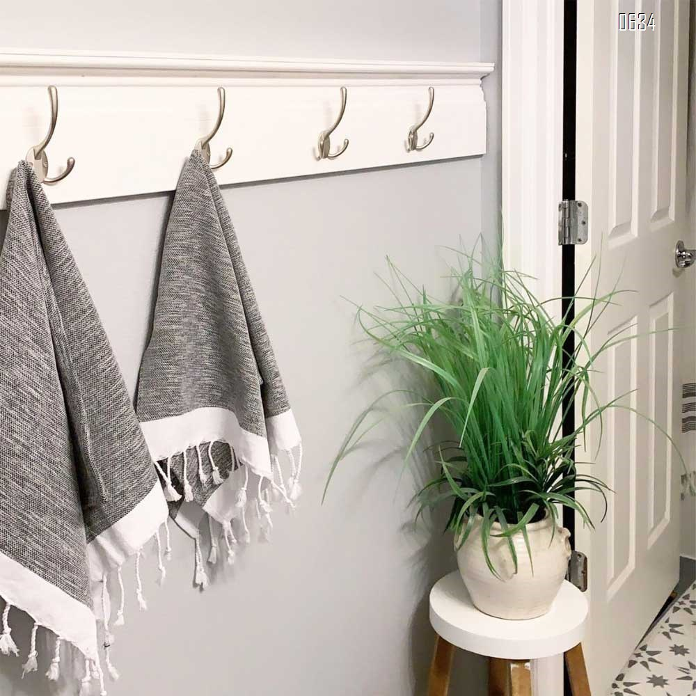 Big Heavy Duty Three Prongs Coat Hooks Wall Mounted  Retro Double Utility Rustic Hooks for Thick Coat, Big Heavy Bags Matte Nickel