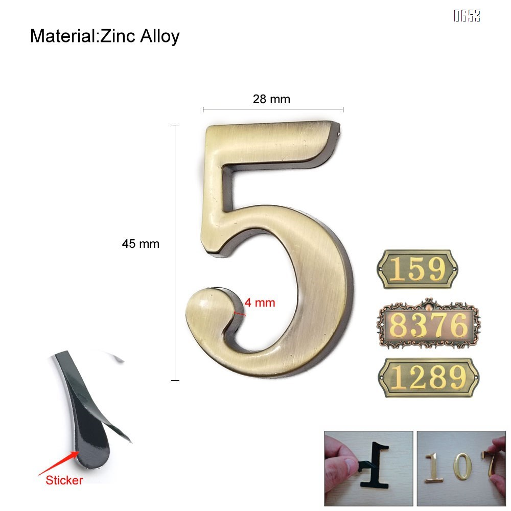 2 inch (45 mm) high self-adhesive zinc alloy household mailbox sign