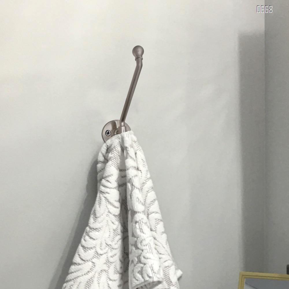 Wall-mounted coat hook heavy silver hardware coat hook decoration single hanging coat towel cabinet classroom kitchen bathroom backpack hat hook