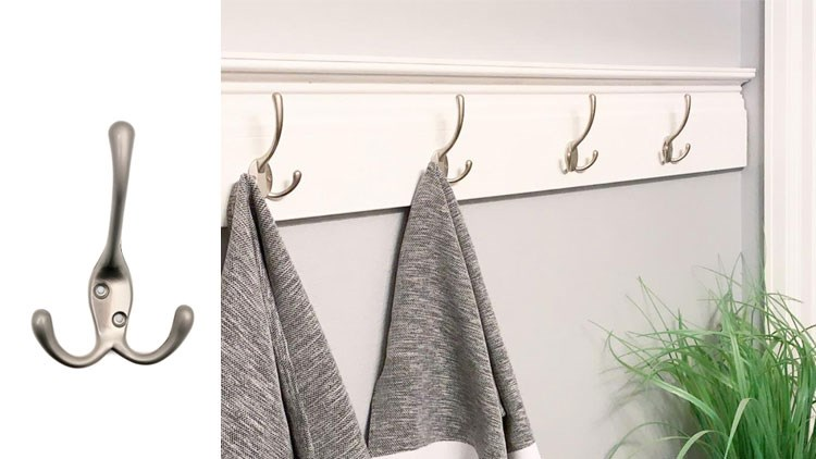 Big Heavy Duty Three Prongs Coat Hooks Wall Mounted  Retro Double Utility Rustic Hooks for Thick Coat, Big Heavy Bags (Matte Nickel)