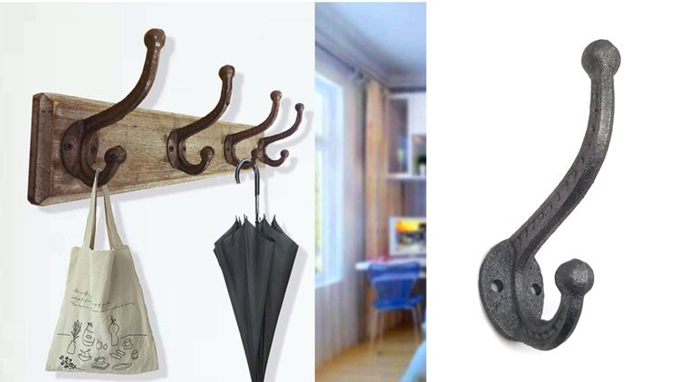Cast Iron Heavy Duty Coat Hooks Rusty Very Big Heavy Duty Hooks for Hanging Coat Double Hooks Wall Mounted with Screws and Anchor for Towel, Keys, Bags, Hat, Scarf, Cup