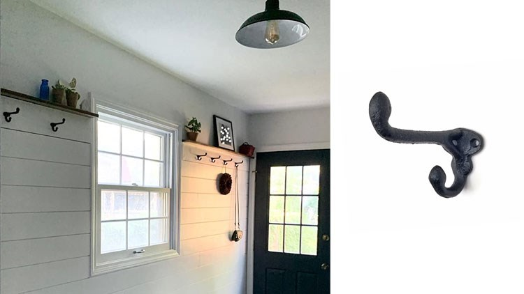 Rustic State Wall Mounted Coat Hanger Hooks Multi Use Entryway Railroad Spike Rack Cast Iron Black
